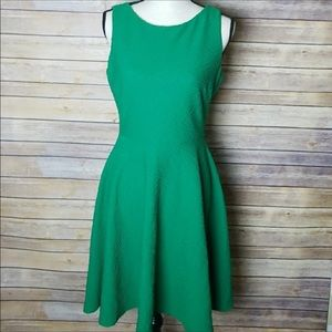 Calvin Klein green textured fit and flare dress 10